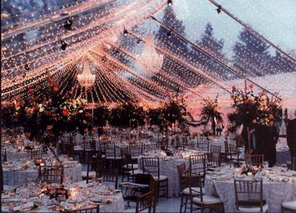 Twinkle lights take a tent from ordinary to magical under a starry night, especially in a clear tent.