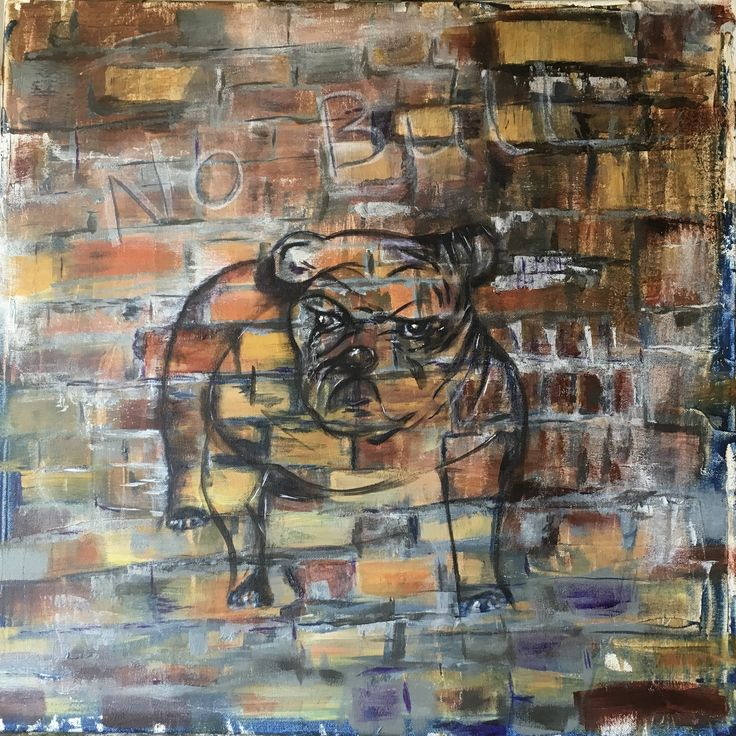 Old Brickwall with faded bull dog.