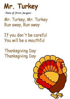 """Mr. Turkey"" song...to the tune of Frere Jacques"