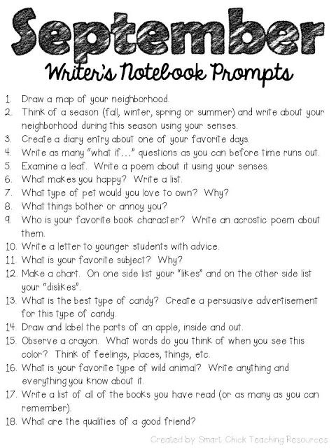 Seventy-Two 5th Grade Writing Prompts