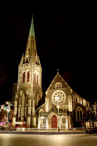 Our poor Christchurch Cathedral - ThAT SADLY IS NO MORE AFTER THE RECENT EARTHQUAKES.Night by AussieDingo, via Flickr