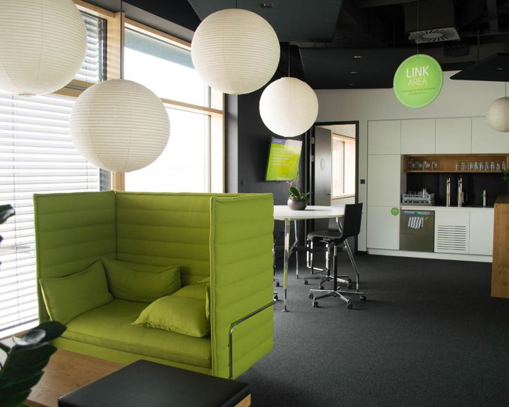 The #Loxone #Basecamp offers our employees space to feel #Comfortable at #Work . #Concentration areas such as #Alkoven #Design #Chairs or our own #Kitchen make the #Basecamp a #LovelyPlace to work.