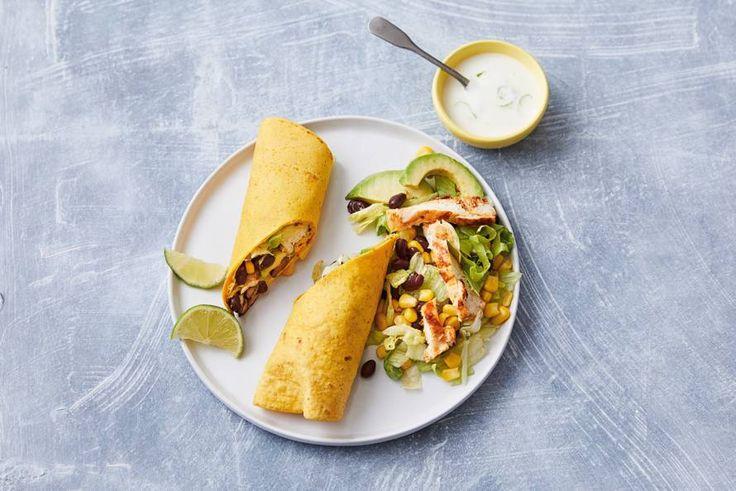 Kijk wat een lekker recept ik heb gevonden op Allerhande! Mexicaanse wraps met gegrilde kip en avocado