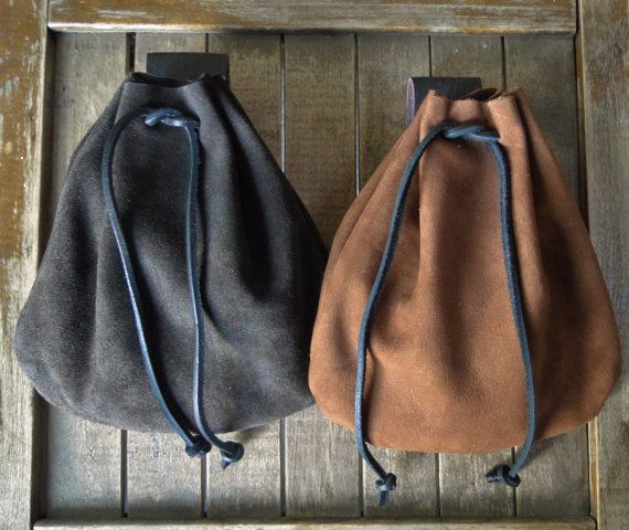 Medieval Leather Pouch Drawstring Renaissance Bag by FolkOfTheWood