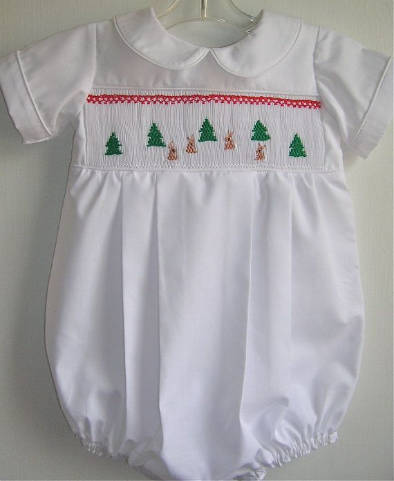 Boy Smocked Christmas Bubble 3 to 34 mos by GumdropGrove on Etsy, $59.00