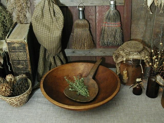 simply prim ~ Love it all...: Things Primitives, Wooden Bowls, Country Decor, Primitives Inspiration, Prim Display, Wood Bowls, Antiques Broom, Prim Things, Primitives Things