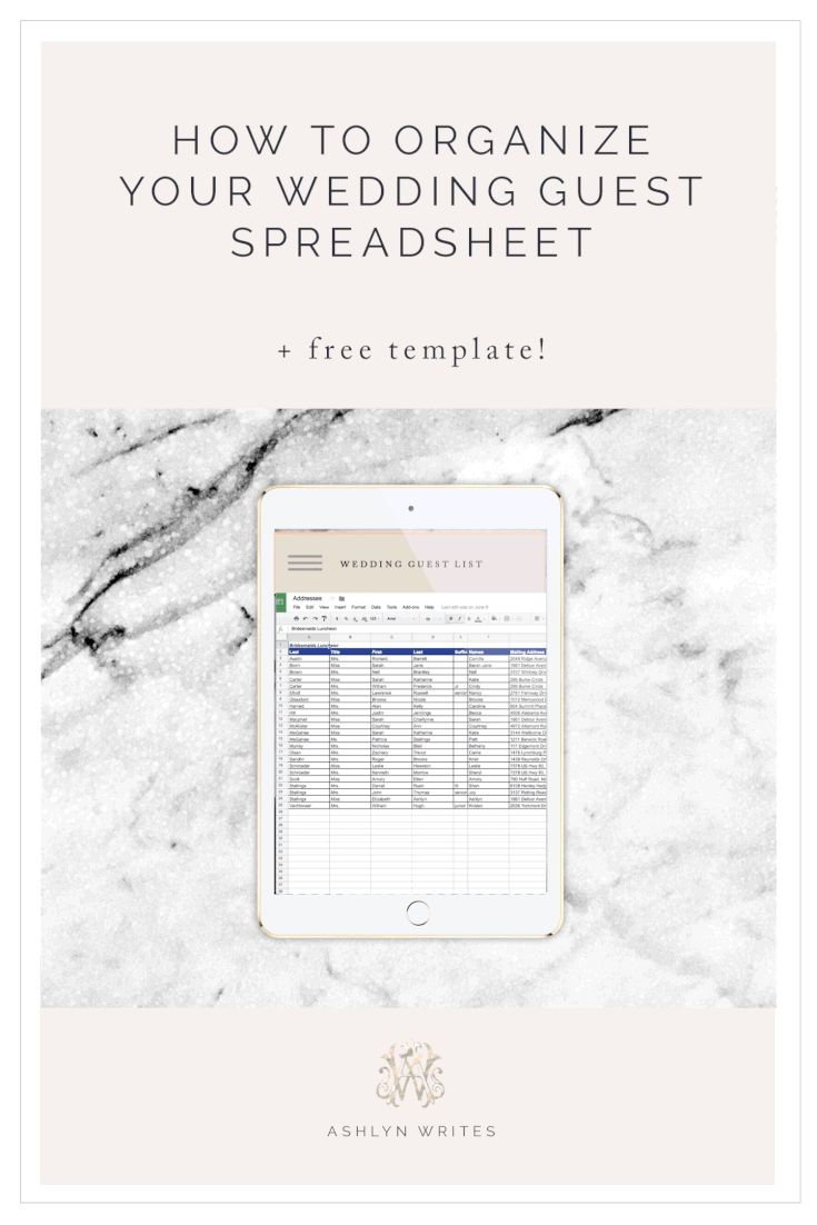 7 Free Wedding Templates You Can Use to Create Your Guest List: Wedding Guest List Spreadsheet Template from Ashlyn Writes