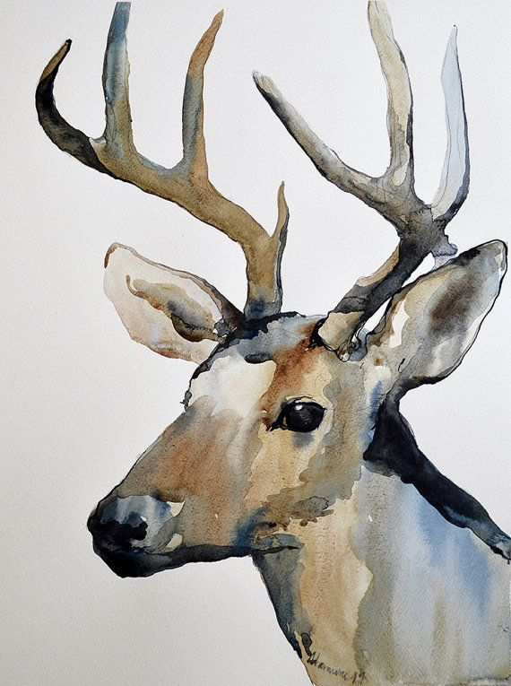 This original watercolor painting of a reindeer is painted by me. It will make a very elegant and unique Christmas gift. Winter gift.    Painted