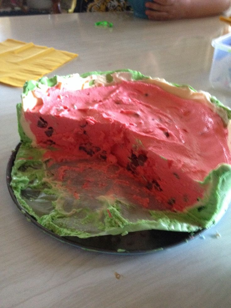 Ice cream watermelon cake