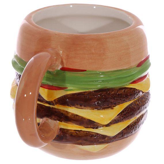 Coffee Cup Fast Food Burger Ceramic Mug Unusual by getgiftideas
