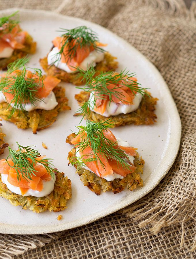 Smoked trout potato rosti canap s recipe mini for Smoked trout canape
