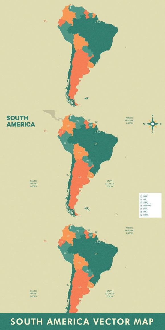 South America Vector Map Infographic Templates Pinterest Map