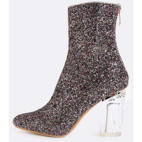 Clear Heel Glitter Boots MULTI (66 AUD) ❤ liked on Polyvore featuring shoes, boots, color, transparent heel boots, clear-heel boots, high heel boots, red shoes and red glitter shoes