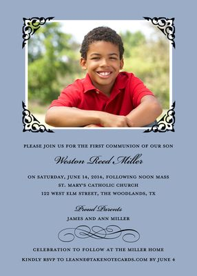 Blue Framed Scroll Photo Invitations: Photos, Baptism, Photo Invitations, Scroll Photo, Designs, Catalog, Framed Scroll, Communion