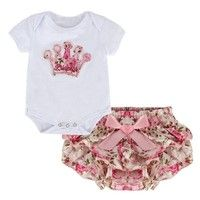 Wish | Newborn Infant Baby Girls Clothing Set Crown Pattern Romper Bodysuit+Printed Pants Outfit