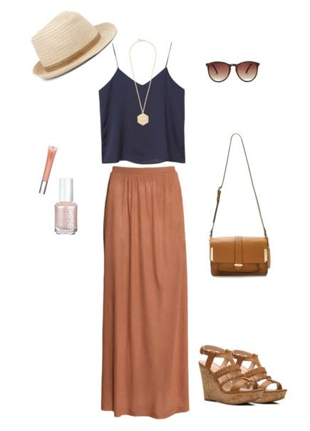 Navy Crop Top with Brown Maxi Skirt ~ perfect for summer! ❤️