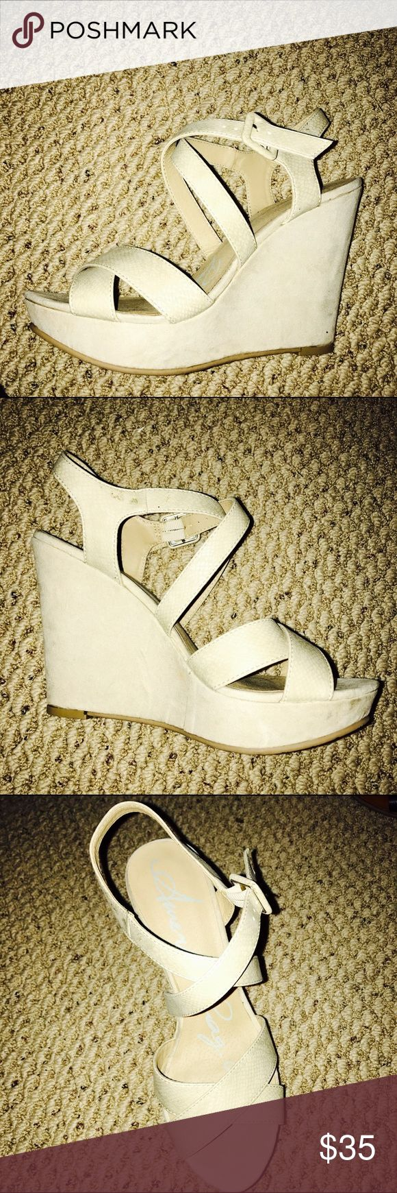 American Rag Nude Wedges Worn once, great condition!! American Rag Shoes Wedges