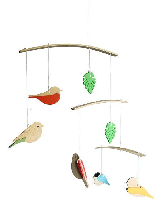 Handmade wooden birds mobile crib mobile baby shower gift