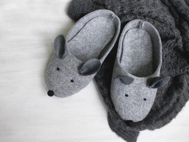 Mice+felted+slippers+w+Pracownia+Uroczysko+na+DaWanda.com