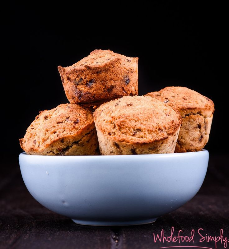banana date muffins  3 ingredients - Wholefood Simply  3 Ingredient Banana And Date Muffins  2 cups almond meal 2 ripe bananas, peeled and halved 10 medjool dates, seeds removed  Gluten Free / Refined Sugar Free / High fibre / Paleo / Vegan