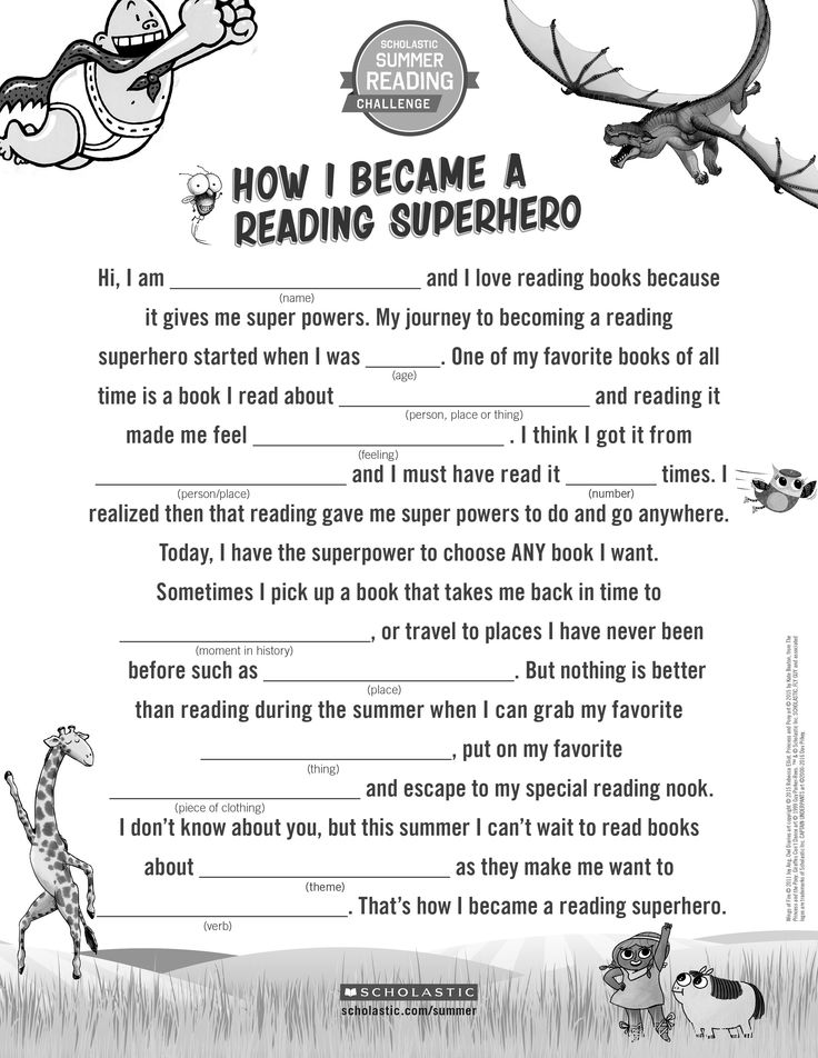 "Encourage kids to talk about reading by having them fill out this fun ""How I Became a Reading Superhero"" mad-lib! Click through to learn more about the Scholastic Summer Reading Challenge. #summerreading"