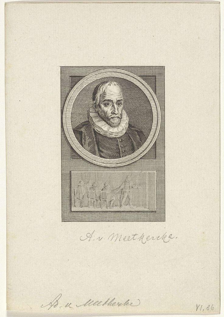 Reinier Vinkeles | Portret van Adolf van Meetkercke, Reinier Vinkeles, Cornelis Bogerts, Jacobus Buys, 1783 - 1795 | Portret van de Zuid-Nederlandse staatsman Adolf van Meetkercke. Onder het portret een afbeelding van een staande figuur bij een tafel met zittend heren.