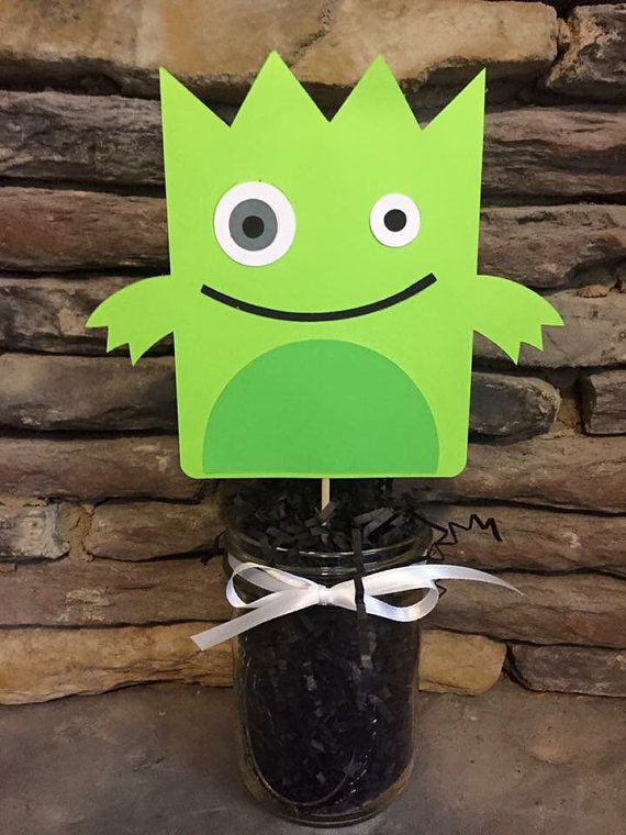 Lil Monsters Centerpieces Happy birthday by PersonalizedPartyDec