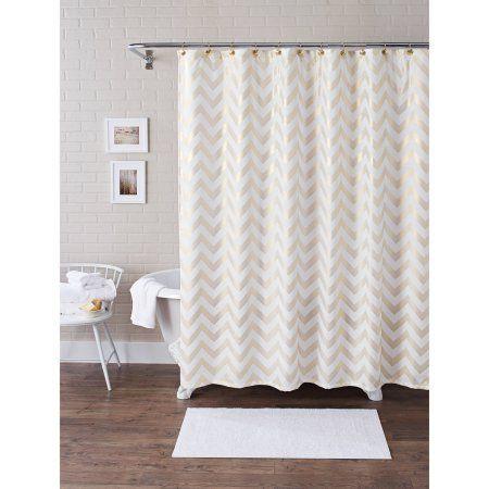 Better Homes and Gardens Metallic Chevron Fabric 13-Piece Shower Curtain Set, Gold