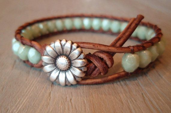 So so so so want this piece: Mint Green, Leather Wrap Bracelets, Daisies Flowers, Shabby Chic, Country Girls, Boho Leather, Jewelry, Leather Wraps Bracelets, Leather Bracelets