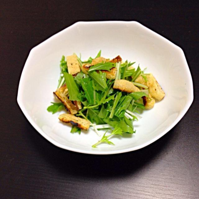油揚げにドレッシングがしみて、美味しいよ - 3件のもぐもぐ - 水菜サラダ by koriutogodesu7