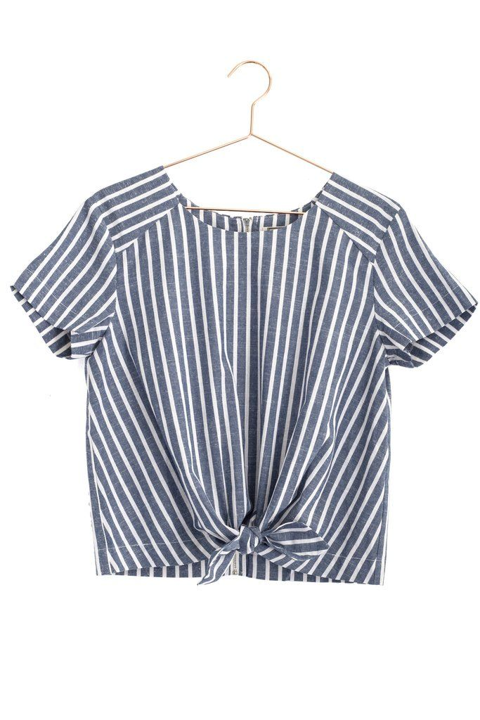 Front Tie Striped Top now back in stock!!Come shop it @mooreaseal