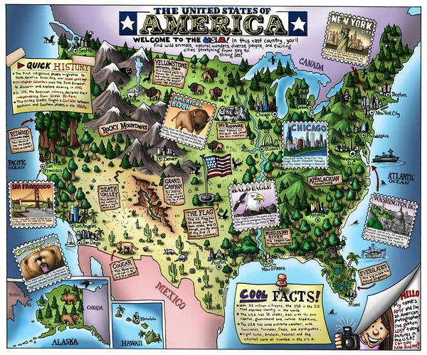 William Warren IllustratedAnnotated Map Of USA Creative Maps - Cook out us map