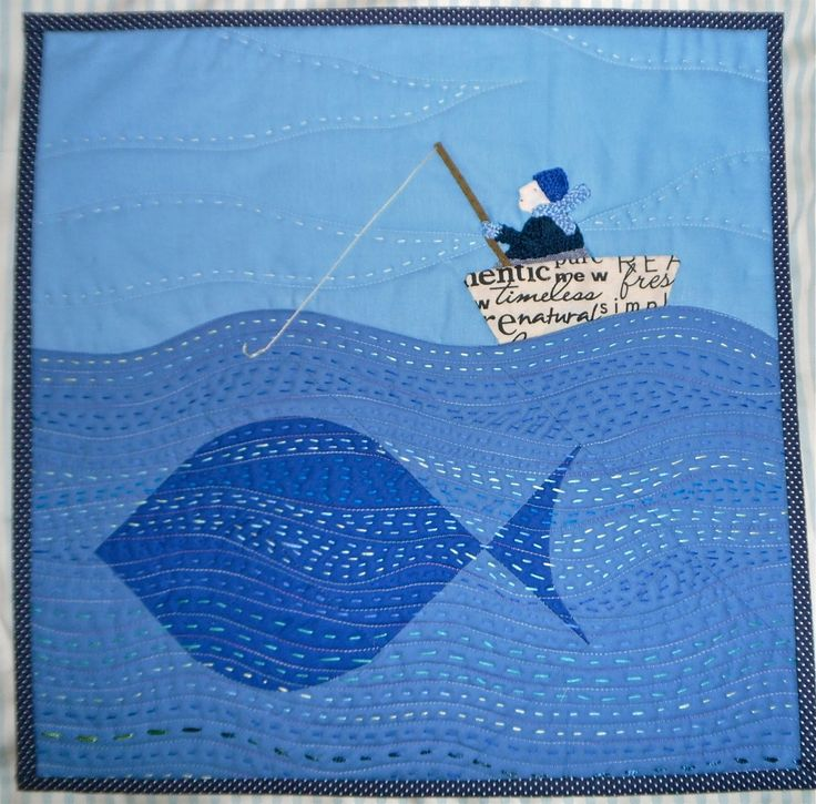 NAUTICAL QUILT...............PC............Old Man and the Fish quilt by Janine at Rainbow Hare Quilts