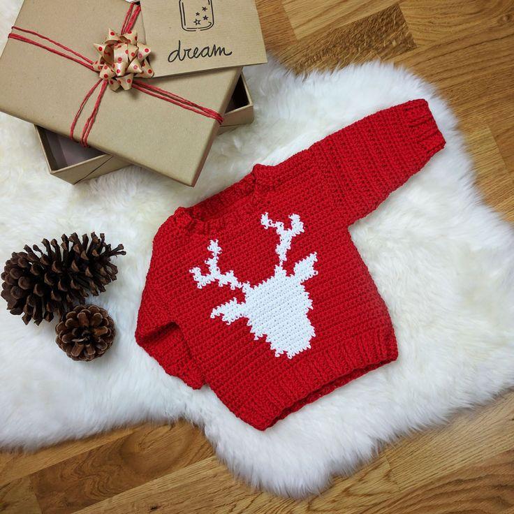 Festive Reindeer Baby Sweater