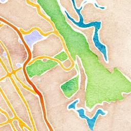 type in a location, it generates a map in watercolor that you can print and frame!
