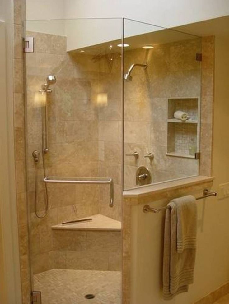 Bathroom With Corner Shower Using Tiled Floor And Wall Plus Built In Foot  Rest And Storage