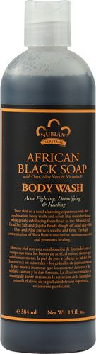 Nubian Heritage African Black Soap Body Wash: Treat skin to a total cleansing experience with this combination body wash and scrub that treats breakouts while gently exfoliating from head to toe. Mineral-rich Dead Sea Salt and Jojoba Beads slough off dead skin while Oats and Aloe extracts soothe and firm. The high concentration of Shea Butter maximizes moisture retention and promotes healing. #NubianHeritage #BlackSoap #SheaButter #NaturalBeauty #BodyWash #BodyScrub