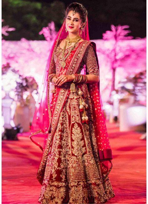 b66c48dfed maroon heavy embroidered lehenga with 2 dupattas | Beautiful brides ...
