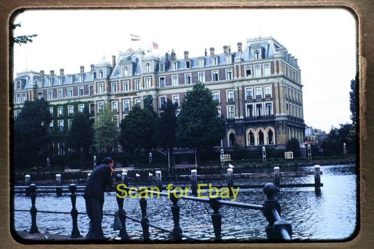 Early 1950's 35mm Photo Slide of Amstel Hotel in Amsterdam, Netherland ~ On auction is this original Kodachrome slide of the Amstel Hotel in Amsterdam.  Slide Mount: Early 1950's, 35mm, red border, Kodachrome