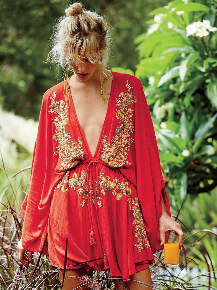 Pretty Pineapple Dress | In a lightweight, gauzy fabrication, this vintage-inspired dress features a plunging V-neckline and beautiful floral embroidery. Drawstring waist and roll tab closures along the dolman sleeves for an easy, effortless fit. Unlined.