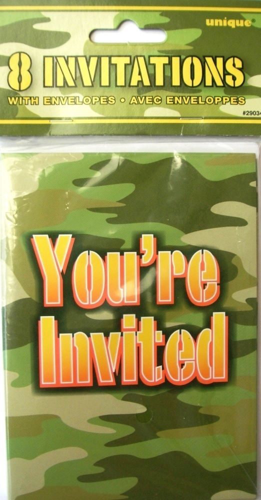 free printable camouflage birthday party invitations%0A Army Party Camo Camouflage Soldier Party Theme  Invitations