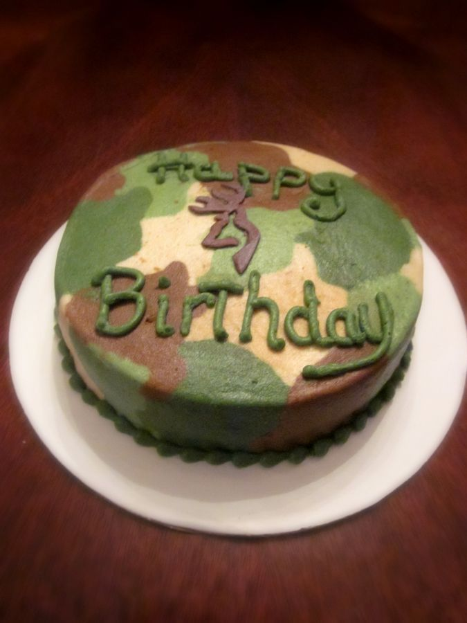 camo birthday cake and put the R instead of the Browning symbal!