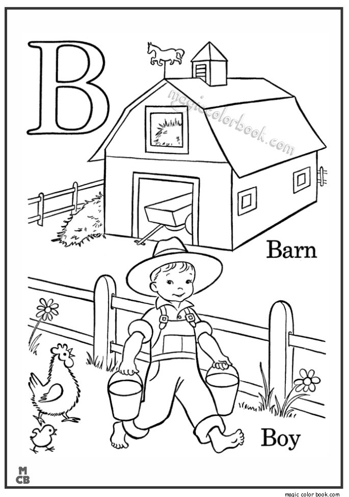 Alphabet B with picture coloring pages BARN