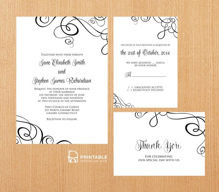 FREE PDF Templates. Easy to edit and print at home. Elegant Ribbon Swirls Invitation Set - Invitation, RSVP and Thank You cards