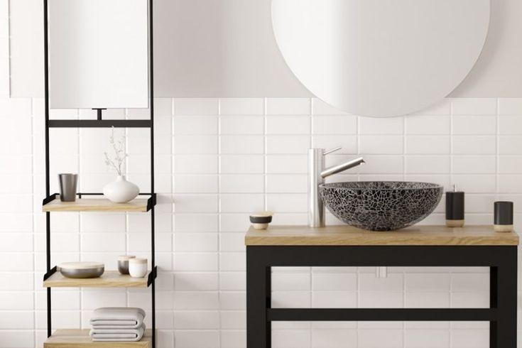36 best salle de bains images on Pinterest Bathroom, Half - pose carrelage mural salle de bain