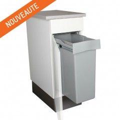 Pratique pour les petits espaces, avec une grande contenance 40 litres , cette poubelle encastrable est idéale pour une faible largeur disponible sous l'évier