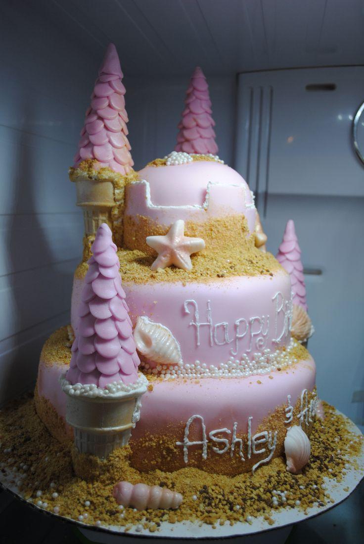 sand castle cake for a little girls birthday!   ~difabulous cakes