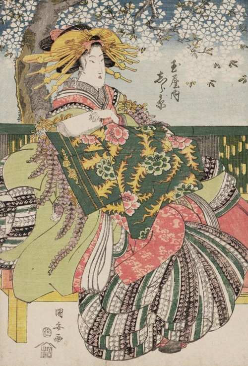 Shirahara of the Tamaya. Ukiyo-e woodblock print, early 1800's, Japan, by artist Utagawa Kuniyasu.