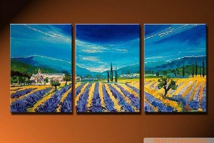 Lavender Field, Landscape Painting, Canvas Painting, Wall Art, Landscape Art, Large Painting, Living Room Wall Art, Modern Art, 3 Pannel Painting, Art Painting, Wall Hanging [p1] - $223.00 :