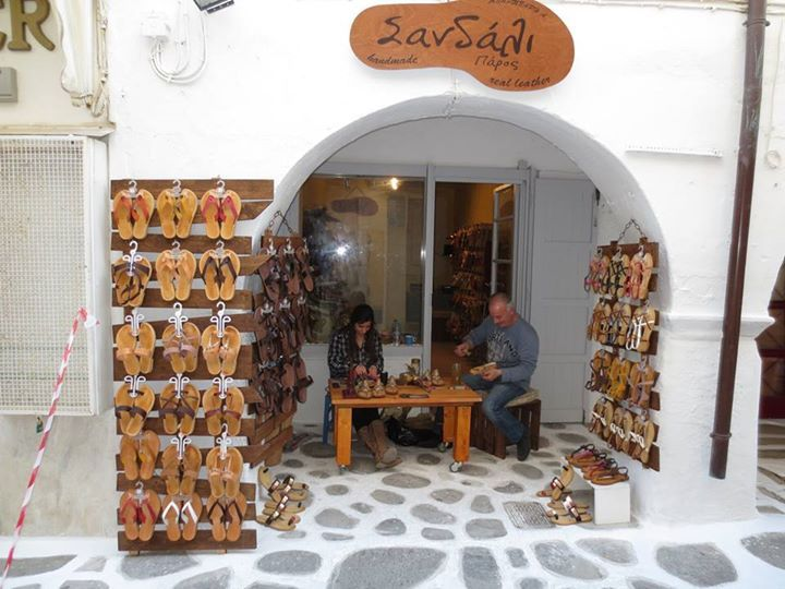 Get your special, custom-made sandals! Located at the main Market Street of Parikia, #Paros in the #GreekIslands. Ms Barbara & her husband create leather sandlas in fantastic designs & all kinds of colors! #shopsparos